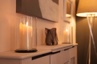 Candle on the sideboard